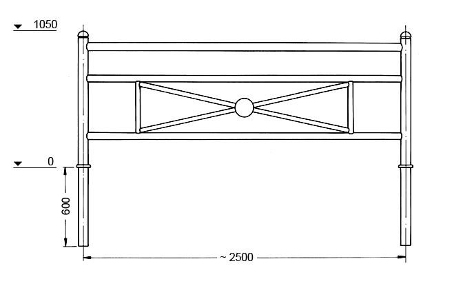 Light Metal Railings Harra - Dimension drawing