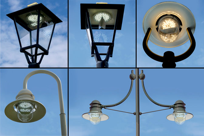 Round module LED-R84 installed in model group square lanterns and model…