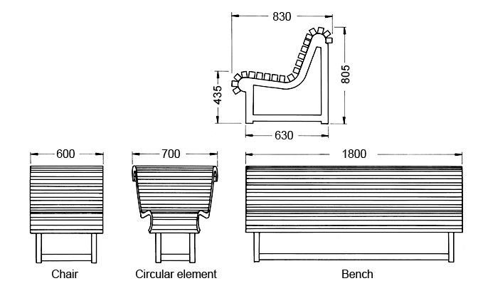 Seating Furniture Dresden I - Dimension drawing