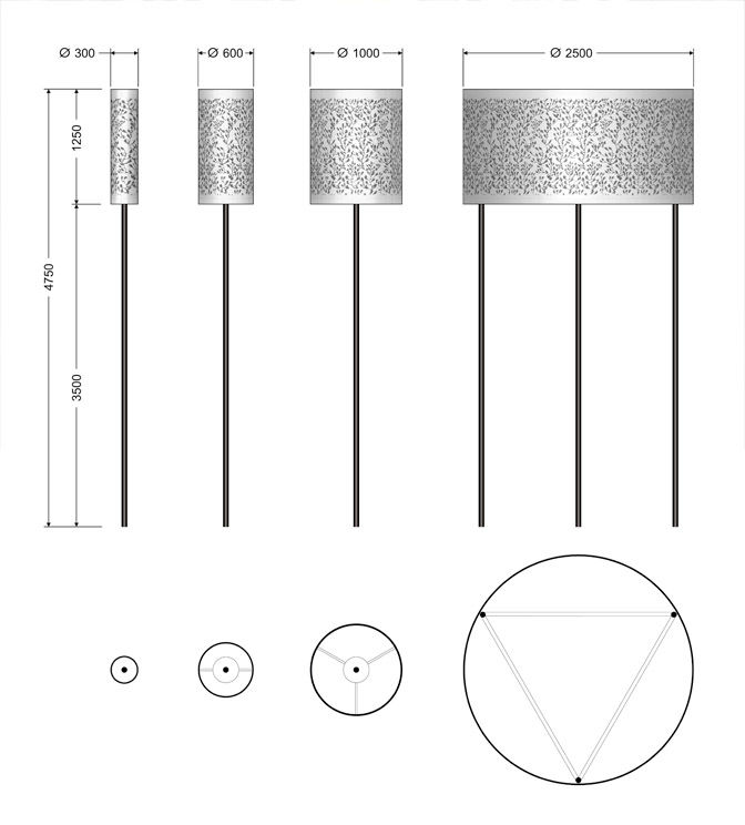 Series Decorative Lights Cylinder - Dimension drawing