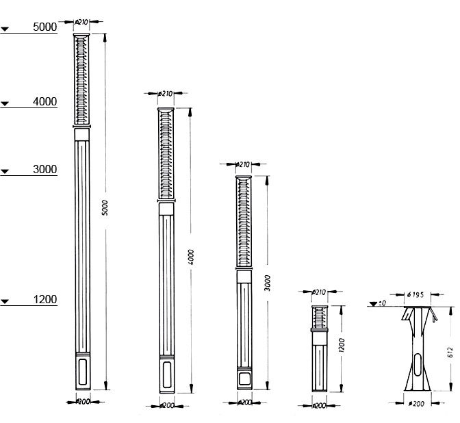 Series Scala I, Dimension drawing H 5000 mm, 4000 mm, 3000 mm, 1200 mm