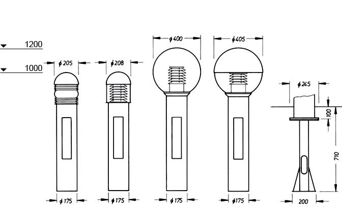 Series Thick Light Bollards, Dimension drawing